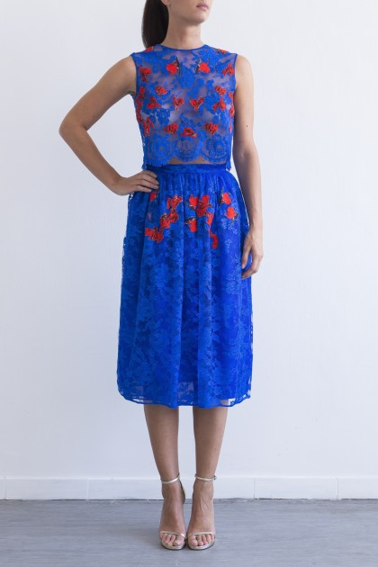 ADORNED MIDI SKIRT WITH EMBROIDERED FLOWERS