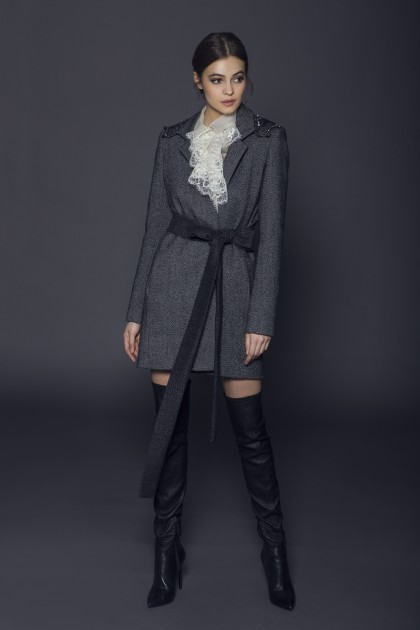 MIDI LACE AND CRYSTALS EMBROIDERED WOOL JACKET