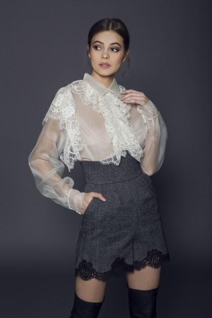 SILK ORGANZA SHIRT WITH LACE RUFFLES INSERTS