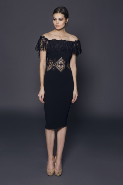 OPEN SHOULDER LACE INSERTS MIDI DRESS