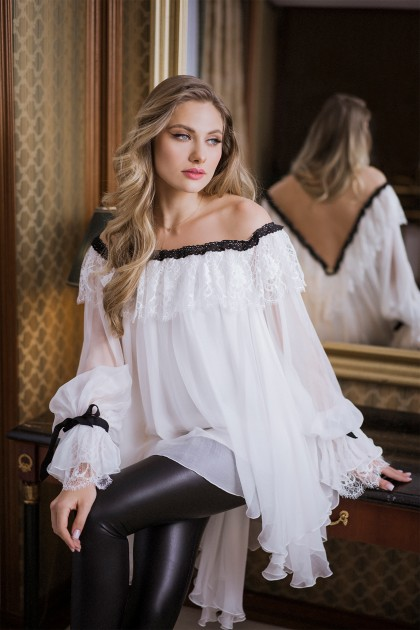 Lacey Silk Chiffon Full Flared Blouse
