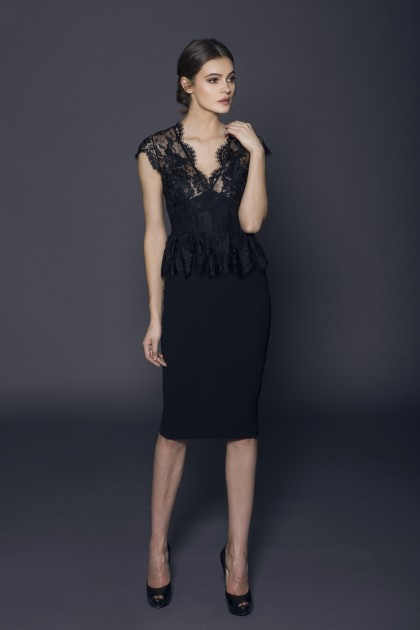 STRUCTURED LACE AND CREPE DRESS