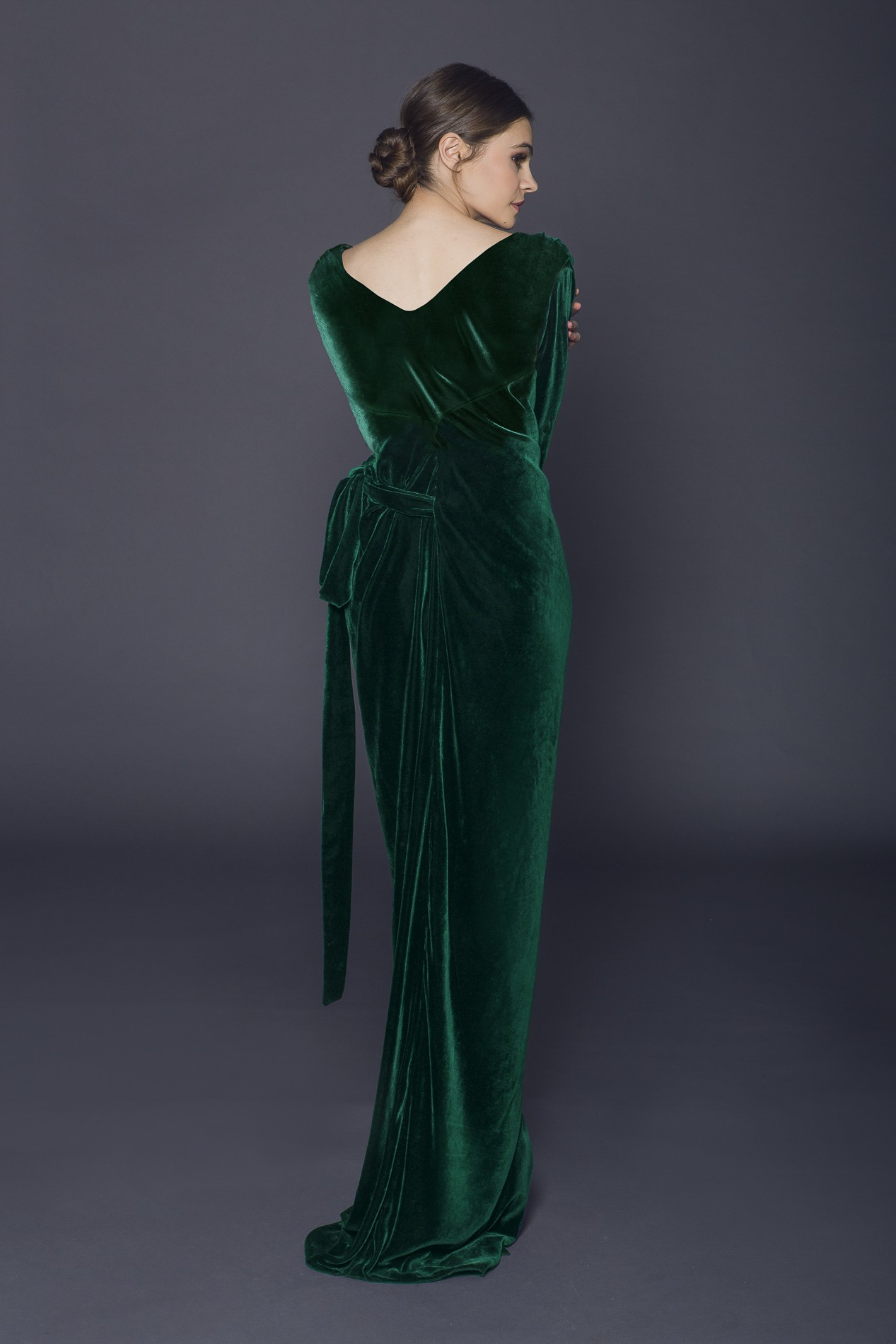 Silk Velvet Long Wraped Dress Rhea Costa Shop