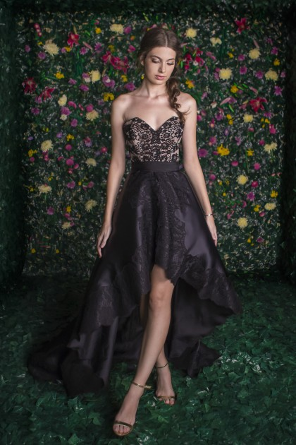 LACE BODICE ASYMMETRICAL ORGANZA DRESS