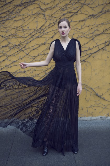 V-NECK SILK CHIFFON LACE APPLIQUE GOWN