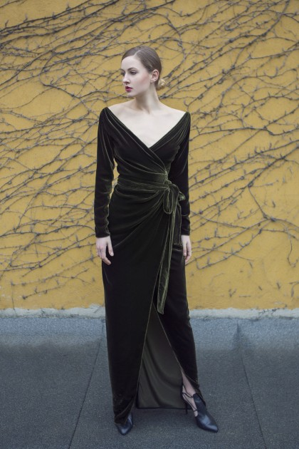 SILK VELVET EMBELLISHED WRAPPED DRESS