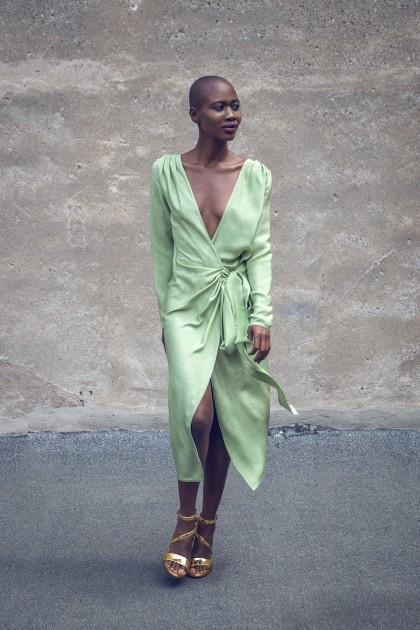 WRAPED SILK LAME DRESS