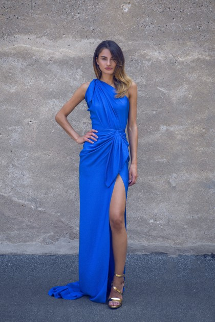 ONE-SHOULDER SILK LAME DRAPED GOWN