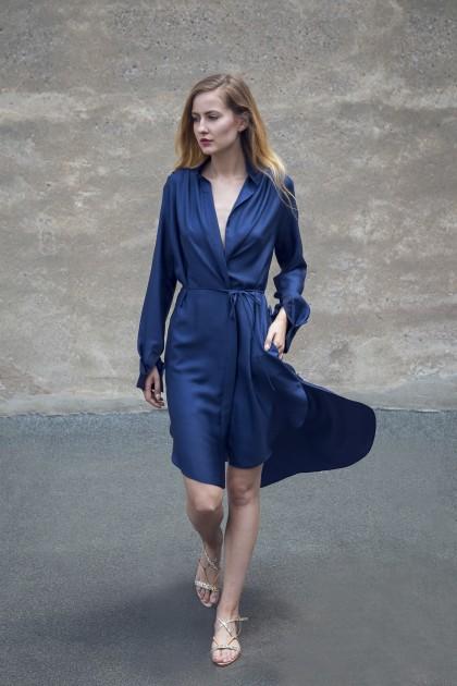 ASYMMETRICAL SILK LAME COCKTAIL DRESS