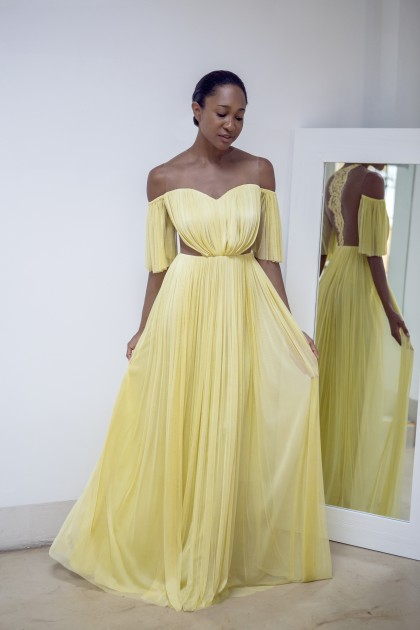 SILK TULLE LONG GOWN