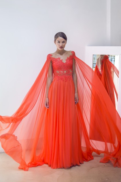 DIAPHANE LACE AND SILK CHIFFON GOWN