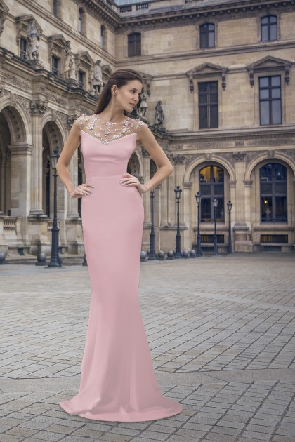 SWAROVSKI DETAILED CREPE GOWN