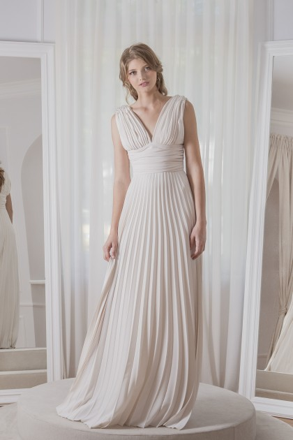 V-NECK CRYSTAL EMBELLISHED CREPE GOWN