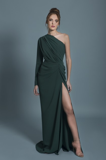 ASYMMETRICAL LONG-SLEEVED GOWN