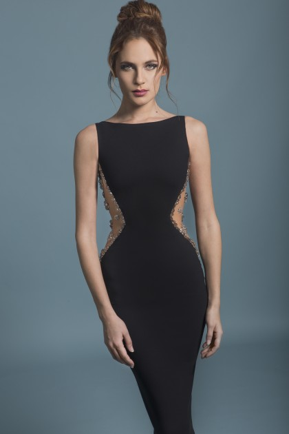 CRYSTAL-DETAILED CREPE SHEATH DRESS