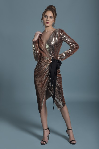 SEQUINED WRAPPED DRESS