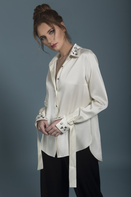 SILK TOUCK EMBELLISHED SHIRT