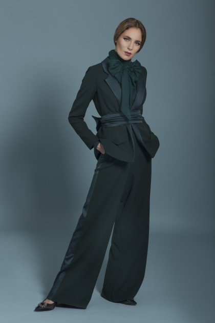 SATIN CREPE LONG TROUSERS