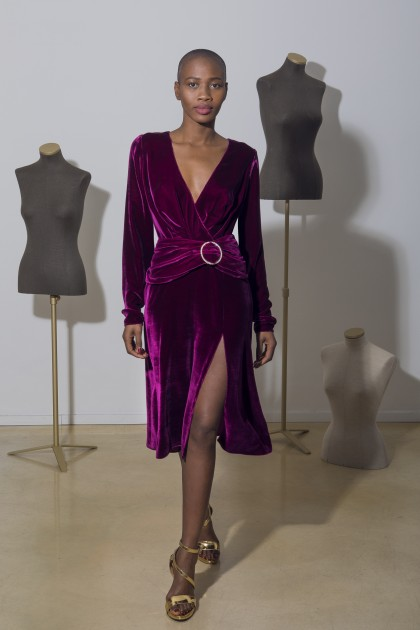 VELVET SIDE OVER SIDE DRESS