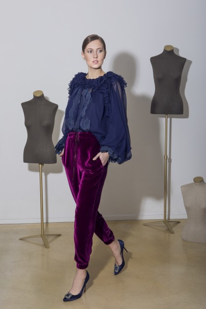 VELVET LONG TROUSERS