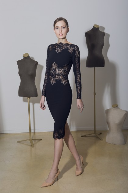 BODYCON MIDI DRESS WITH LACE INSERTS
