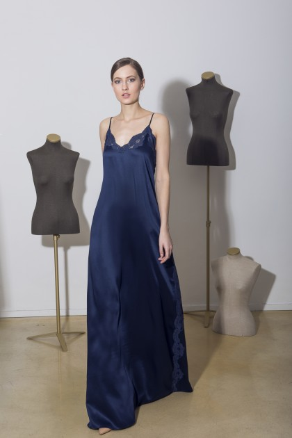 LONG EMBROIDERED SATIN DRESS