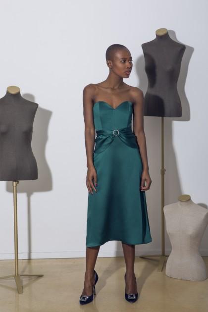 A-LINE SATIN CORSET DRESS