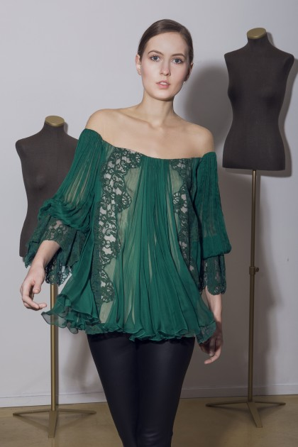 LONG SLEEVED SILK TOP