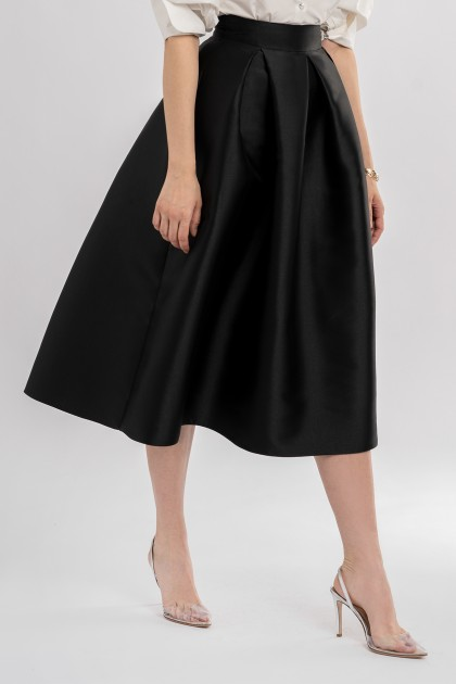 STRUCTERED MIKADO SILK SKIRT