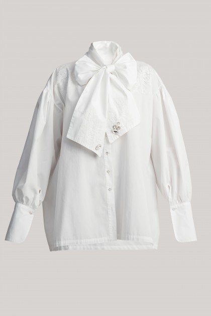 BOW DETAIL EMBROIDERED SHIRT