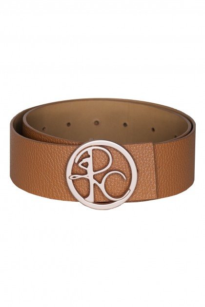 BROWN LEATHER BELT WITH CIRCLE BUCKLE - ONE SIZE