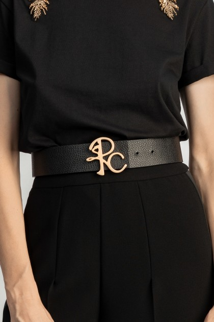 BLACK LEATHER BELT WITH MONOGRAM BUCKLE - ONE SIZE