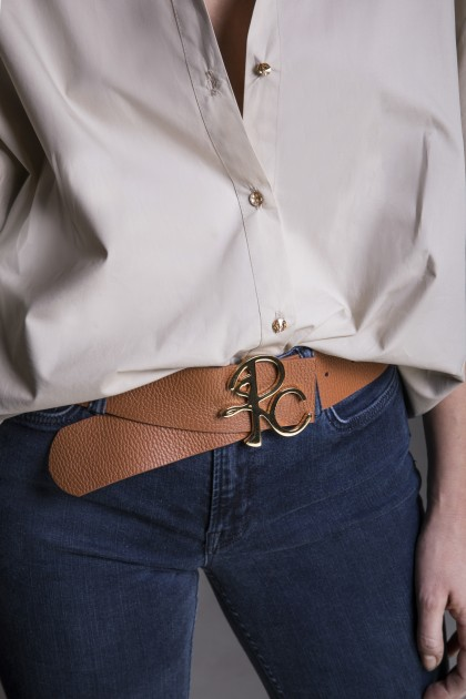BROWN LEATHER BELT WITH MONOGRAM BUCKLE - ONE SIZE