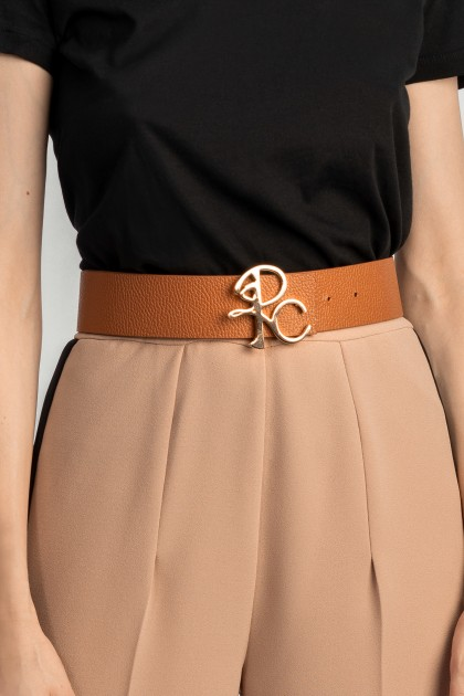 BROWN LEATHER BELT WITH MONOGRAM BUCKLE