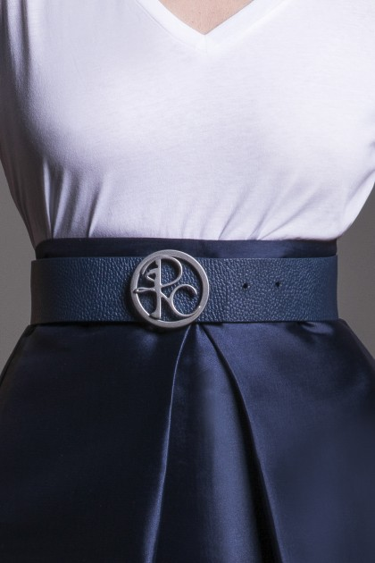DARK BLUE LEATHER BELT WITH MONOGRAM BUCKLE