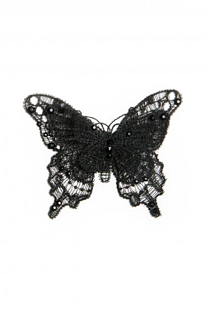 SWAROVSKI EMBROIDERED SILK BUTTERFLY BROCHE