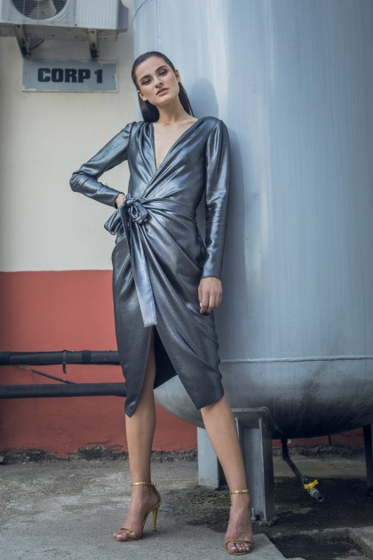 MIDI METALLIC WRAPPED DRESS
