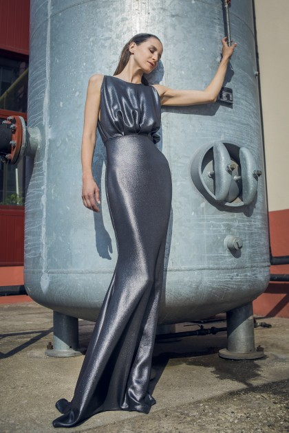 LONG METALLIC CREPE DRESS