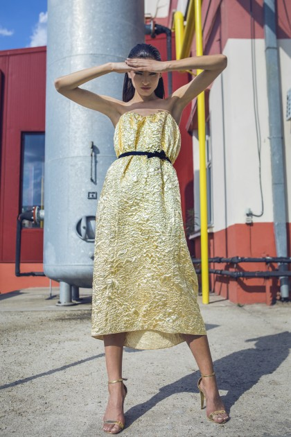GOLDEN CRUMPLE LUREX DRESS