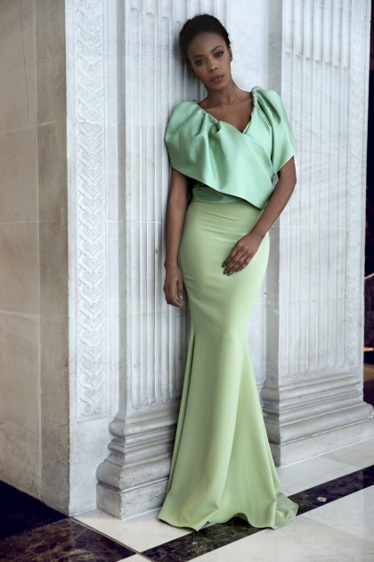 DRAPED CREPE GOWN