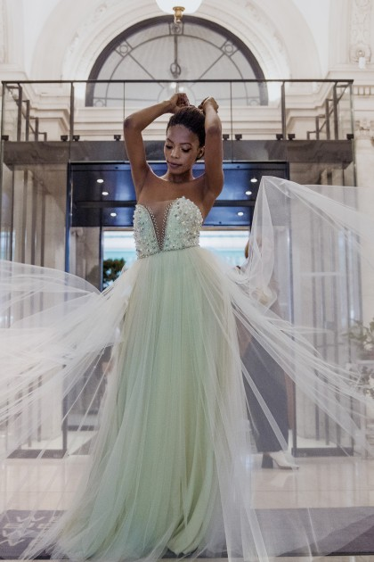 HANDMADE CRYSTALIZED TULLE DRESS