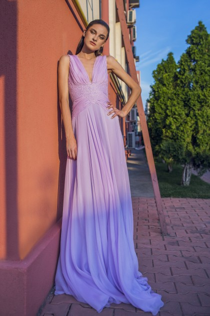 SILK CHIFFON GOWN WITH LACE INSERTS