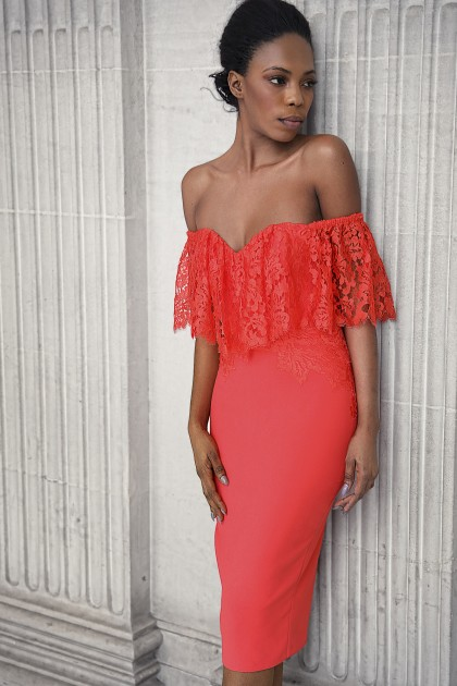 SWEETHEART NECKLINE CREPE AND LACE DRESS