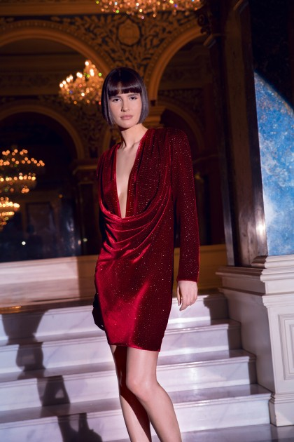SHORT DOUBLE WEARING SILK VELVET DRESS