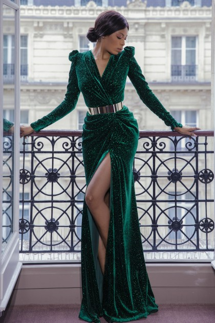 LONG SILK VELVET DRESS