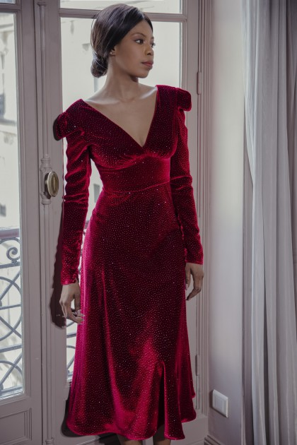 ANKLE LENGTH GLITTER SILK VELVET DRESS