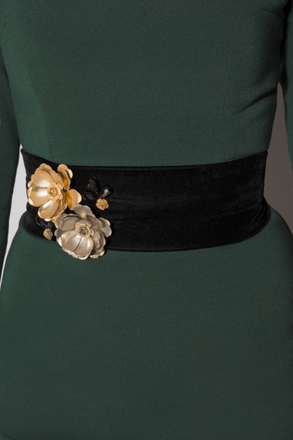 VELVET METAL FLOWERS BELT