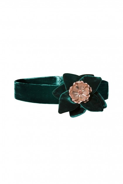 VELVET METAL FLOWER BROOCH
