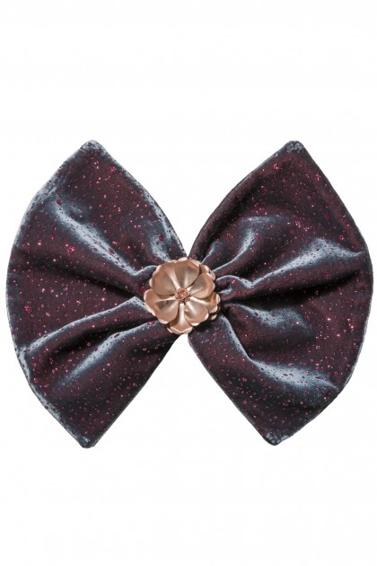 QUEEN-SIZED GLITTER VELVET FLOWER BOW BROOCH