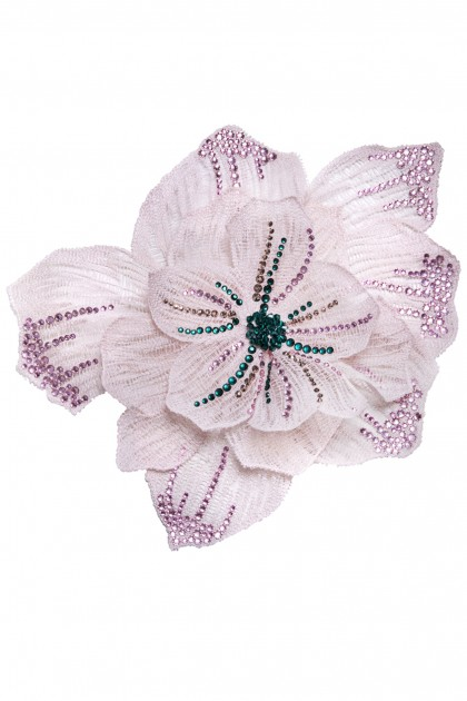 SILK FLOWER SWAROVSKI BROOCH